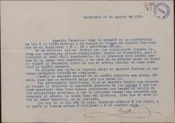 Carta de Ernesto Rosillo a Federico Romero, sobre asuntos musicales referentes a una obra en la que colaboran.