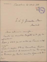 Carta de Luis Pujol a Guillermo Fernández-Shaw, insistiendo en que le avise cuando vaya a viajar a Barcelona para poder verle.