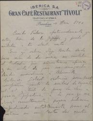 Carta de Rafael Millán a Federico Romero, sobre varios asuntos teatrales.