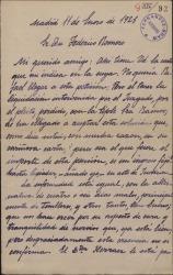 Carta de Rafael Millán a Federico Romero, dando cuenta de su enfermedad y agradeciéndole gestiones a su favor.