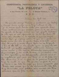 Carta de Leopoldo Magenti a Guillermo Fernández-Shaw y Federico Romero, hablando de planes teatrales y proponiéndoles una audición de obras suyas.