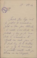 Carta del Padre José María Llanos a María Josefa Baldasano, esposa de Guillermo Fernández-Shaw, atendiendo una recomendación de ésta.