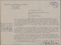 Carta del Padre Saturnino Álvarez Turienzo a Guillermo Fernández-Shaw, invitándole a pronunciar una conferencia en la Residencia de los Padres Agustinos.