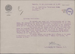 Carta del Padre José María Llanos a Guillermo Fernández-Shaw, dándole el pésame por la muerte de su hermano.
