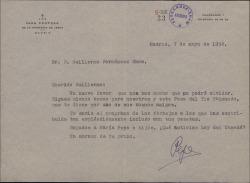 Carta del Padre José María Llanos a Guillermo Fernández-Shaw, agradeciéndole su gestión a favor de la petición de los vecinos a la Sociedad General de Autores de España en relación con sus fiestas.