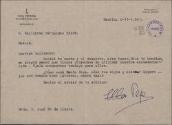 Carta del Padre José María Llanos a Guillermo Fernández-Shaw, agradeciéndole su interés por sus peticiones de ayuda y su donativo.