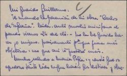 Tarjeta de visita del Padre Ángel Topete a Guillermo Fernández-Shaw, enviándole la recensión de una obra de éste, leída ante los micrófonos de Radio Vaticana.