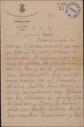 Carta de Sor María de la Crucifixión a Cecilia Iturralde, madre de Guillermo Fernández-Shaw, interesándose por su enfermedad y alegrándose de la elección de esposa de Guillermo.