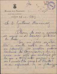Carta de Sor Concepción de San Vicente a Guillermo Fernández-Shaw, contándole la enfermedad y muerte de Sor María de la Crucifixión.