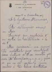 Carta de Sor Concepción de San Vicente a Guillermo Fernández-Shaw, pidiéndole una limosna para hacer reparaciones en el convento.