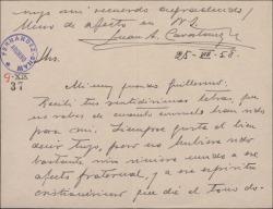 Tarjeta del Padre Juan Antonio Cavestany a Guillermo Fernández-Shaw, agradeciéndole sus palabras de condolencia por la muerte de su madre.