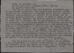 """Carta del Padre Ángel Topete a Guillermo Fernández-Shaw, diciéndole lo mucho que le han gustado las """"Estampas isabelinas""""."""