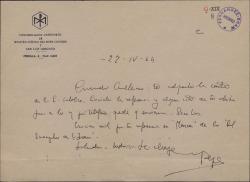 Carta del Padre José María Llanos a Guillermo Fernández-Shaw, dándole las gracias por una reseña.