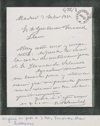 Carta de Armando Palacio Valdés a Guillermo Fernández-Shaw, remitiéndole una carta de autorización para el Sr. Llorente.
