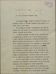 Carta de Vicente Pereda a Guillermo Fernández-Shaw, alegrándose de haber conseguido establecer contacto con él y refiriéndose a cierto libro sobre la vejez que está a punto de llevar a la imprenta.