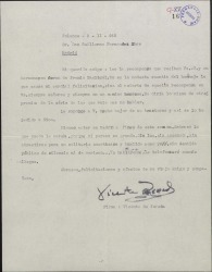 Carta de Vicente Pereda a Guillermo Fernández-Shaw, felicitándole por un premio.