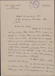 Carta de Rafael Bautista Moreno a Guillermo Fernández-Shaw, pidiéndole ayuda para Pedro Navarro Aurín, un tenor sin trabajo.