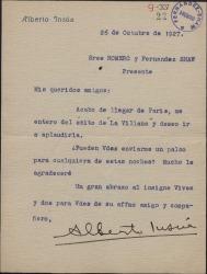 """Carta de Alberto Insúa a Guillermo Fernández-Shaw y Federico Romero, pidiéndoles un palco para ver """"La villana""""."""