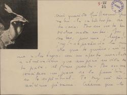 Carta de Tomás Borrás a Guillermo Fernández-Shaw, dándole el pésame por la muerte de su madre.