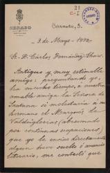 Cartas de Leopoldo Augusto de Cueto, Marqués de Valmar, a Carlos Fernández Shaw.