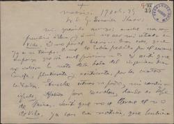 """Carta de Adolfo de Sandoval a Guillermo Fernández-Shaw, comentando su sorpresa por no haber encontrado su foto ni la reseña de cierta boda en el último número de """"Vida Aristocrática""""."""