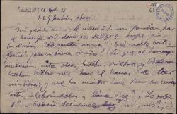 """Carta de Adolfo de Sandoval a Guillermo Fernández-Shaw, reiterándole su parabién por el homenaje recibido por """"El caserío"""" y pidiéndole las señas de Esteban Bilbao."""