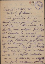 """Carta de Adolfo de Sandoval a Guillermo Fernández-Shaw, agradeciéndole una atención y hablándole de su obra """"Toda hermosa""""."""