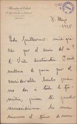 """Carta de Mauricio López Roberts a Guillermo Fernández-Shaw, agradeciéndole una publicación sobre su familia en la revista """"Vida Aristocrática""""."""