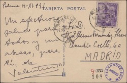 Tarjeta postal de Valentín Moragas Roger a Guillermo Fernández-Shaw, enviándole un saludo.