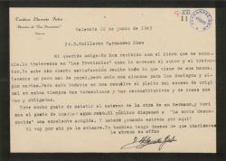 """Carta de Teodoro Llorente Fálco a Guillermo Fernández-Shaw, prometiéndole ocuparse de un libro suyo en """"Las Provincias""""."""