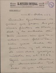 Carta de Valentín Moragas Roger a Guillermo Fernández-Shaw, felicitándole las Pascuas.