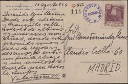 Tarjeta postal de Valentín Moragas Roger a Guillermo Fernández-Shaw, enviándole un saludo durante sus vacaciones.
