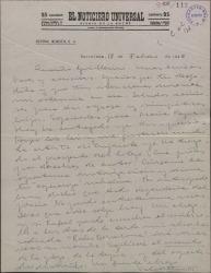 Carta de Valentín Moragas Roger a Guillermo Fernández-Shaw, agradeciéndole sus atenciones durante su estancia en Madrid y preguntándole sus condiciones económicas para la edición de un libro en Barcelona.