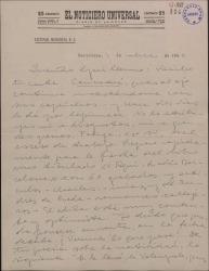 Carta de Valentín Moragas Roger a Guillermo Fernández-Shaw, sobre varios asuntos relativos a edición de libros, poemas y contratos de ambos.