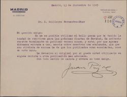 Carta de Juan Pujol a Guillermo Fernández-Shaw, explicando el motivo por el que no publicará un poema de éste.