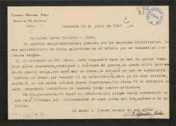 Carta de Teodoro Llorente Fálco a Guillermo Fernández-Shaw, agradeciéndole una felicitación.