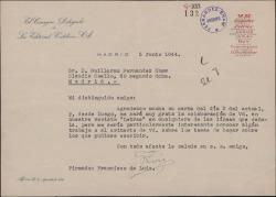 """Carta de Francisco de Luis a Guillermo Fernández-Shaw, aceptando su colaboración en la revista """"Letras""""."""