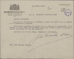 Carta de José Morales Darias a Guillermo Fernández-Shaw, rogándole asista al homenaje a Lucio del Alamo.