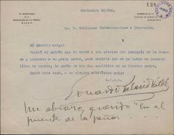 Carta de Eduardo Palacio Valdés a Guillermo Fernández-Shaw, diciendo que recibió el padrón, a efectos del Montepío de la Prensa.