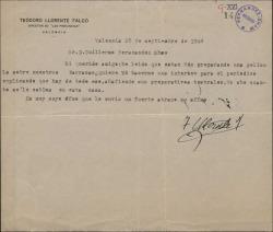 Carta de Teodoro Llorente Fálco a Guillermo Fernández-Shaw, pidiéndole una entrevista sobre la película que prepara sobre las barracas valencianas.