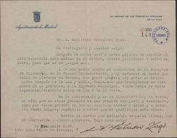 Carta de Antonio Velasco Zazo a Guillermo Fernández-Shaw, justificando su ausencia de un acto.