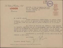 """Carta de Manuel Vigil a Guillermo Fernández-Shaw aceptando el ofrecimiento para asistir al estreno de la segunda parte de """"A todo color""""."""