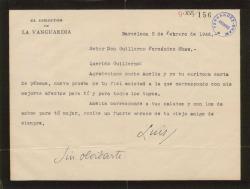Carta de Luis de Galinsoga a Guillermo Fernández-Shaw, agradeciendo una carta de pésame.