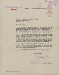 """Carta de Nicolás González Ruiz a Guillermo Fernández-Shaw, comunicándole que se ha hecho cargo de la revista """"Letras"""" y acusando recibo de unos versos suyos."""