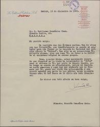Carta de Nicolás González Ruiz a Guillermo Fernández-Shaw, acusando recibo de sus cartas, comentando que se publicará la fotografía que envió y aceptando su ofrecimiento para ir a su próximo estreno.