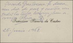 Tarjeta de visita de Francisco Ramos de Castro a Guillermo Fernández-Shaw, felicitándole.