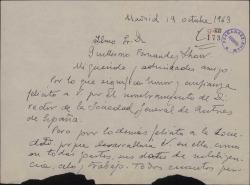 Carta de Fernando José de Larra a Guillermo Fernández-Shaw, felicitándole por su nombramiento de Director General de la Sociedad General de Autores de España.