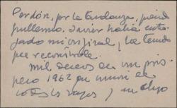 Tarjeta de visita de Fernando José de Larra a Guillermo Fernández-Shaw, pidiéndole perdón por la tardanza en enviar un original.
