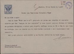 Carta de Enrique Mariné a Guillermo Fernández-Shaw, pidiendo su influencia a favor de su yerno con motivo de un concurso teatral.