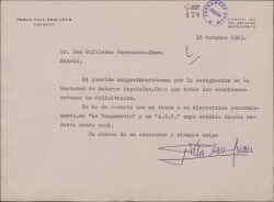 Carta de Pablo Vila San-Juan a Guillermo Fernández-Shaw, dándole la enhorabuena por el nombramiento de Director de la Sociedad General de Autores de España.